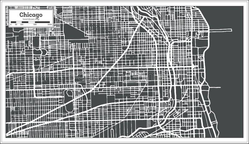 在减速火箭的样式的芝加哥伊利诺伊美国地图 库存例证