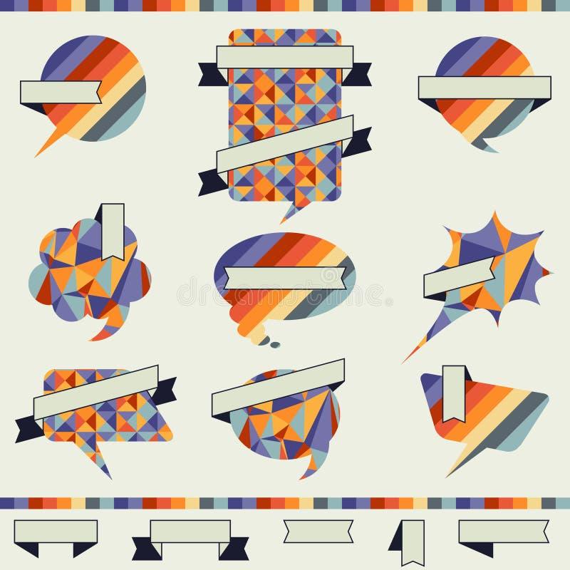 在减速火箭的样式的讲话泡影 向量例证