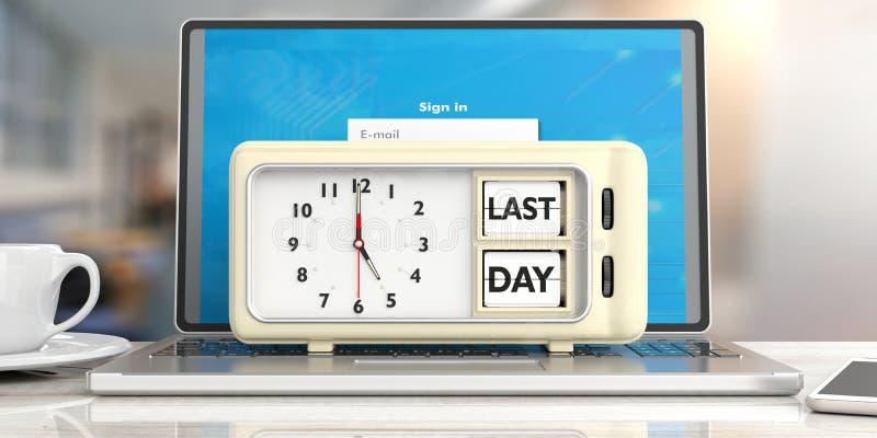 在减速火箭的闹钟的前则天最后期限消息在计算机,办公室背景上 3d例证 皇族释放例证