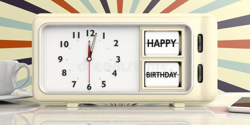 在减速火箭的闹钟,狂欢节背景的生日快乐消息 3d例证 皇族释放例证