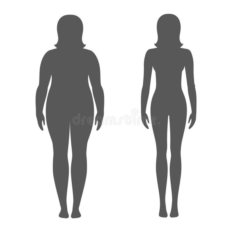 在减重前后,导航妇女的例证 女性身体剪影 亭亭玉立和肥胖女孩 向量例证