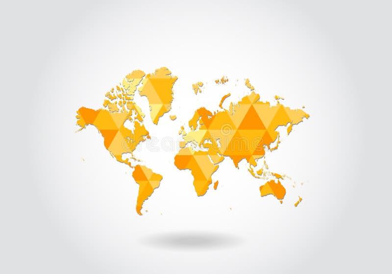 在几何多角形样式的世界地图 抽象宝石三角,现代设计背景 世界低多地图  向量例证