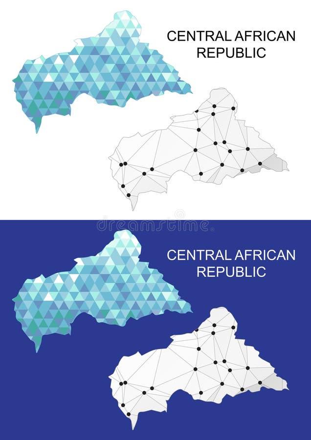 在几何多角形样式的中非共和国地图 抽象宝石三角 皇族释放例证