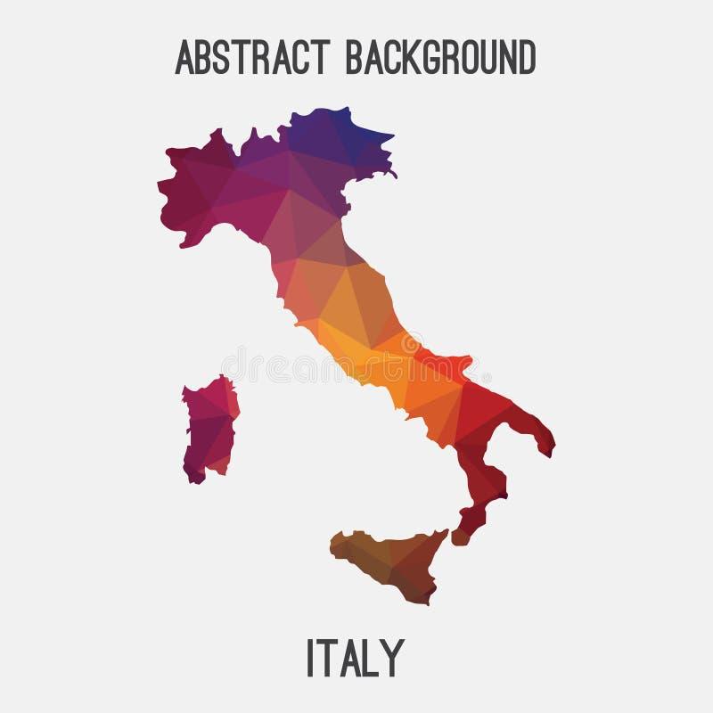在几何多角形,马赛克样式的意大利地图. 图标, 艺术.图片