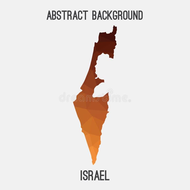 在几何多角形,马赛克样式的以色列地图 库存例证