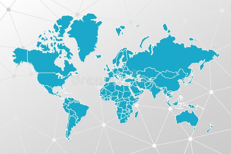 在几何背景的传染媒介世界地图infographic标志 蓝色白色国际全球性例证标志和多样式 向量例证