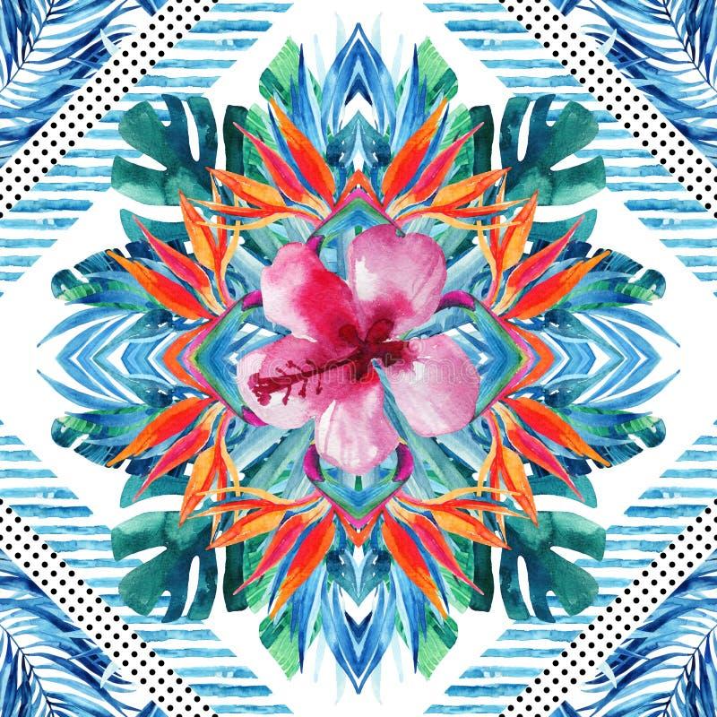 在几何背景的水彩热带叶子和花的布置 向量例证
