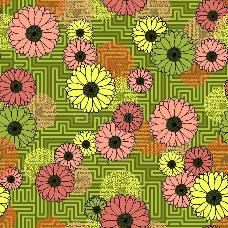 在几何背景苔绿色无缝的样式的花卉碰撞 向量例证