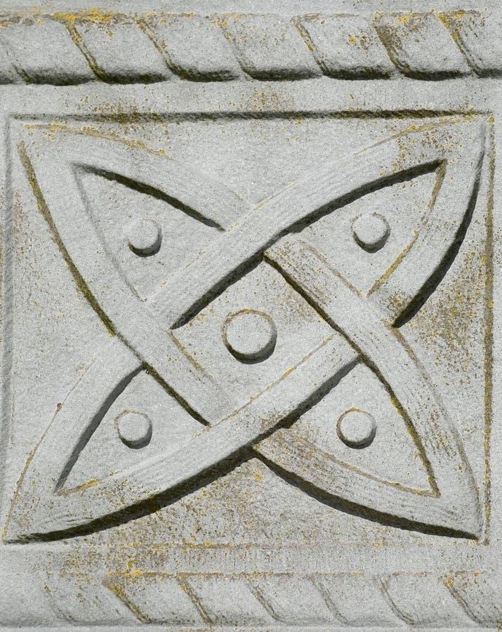 在凯尔特墓碑交叉之内的符号 库存图片