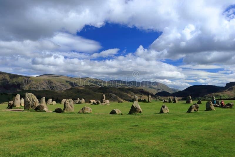 在凯林在湖区国立公园,坎布里亚郡附近的史前Castlerigg石圈子 免版税图库摄影