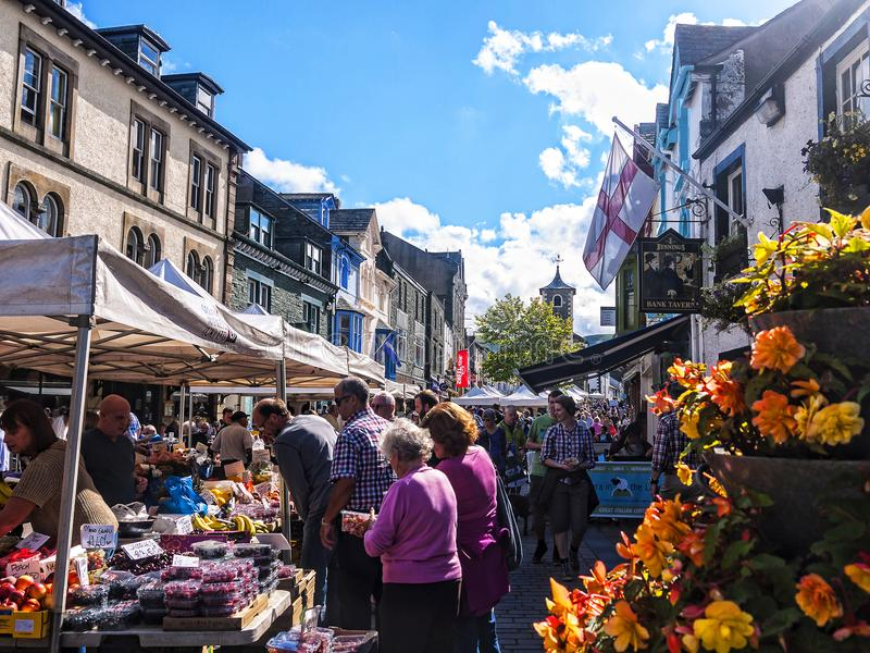 在凯西克的市场在西北英国,在湖区的心脏 免版税库存照片