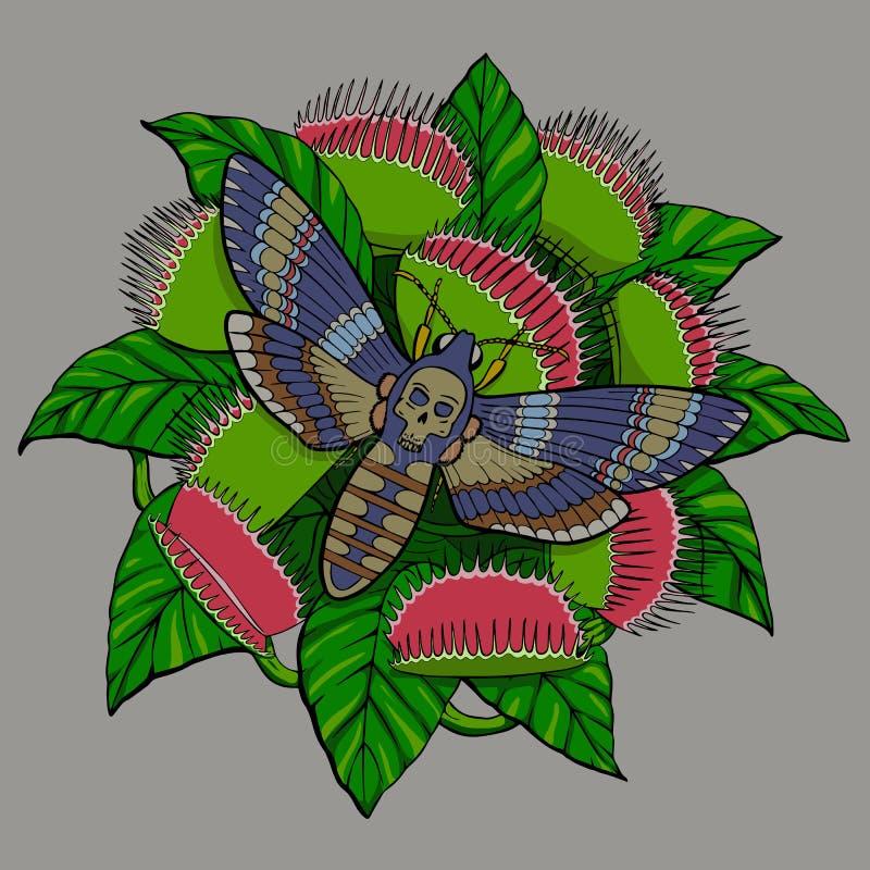 在凶手植物的蝴蝶免票的人 皇族释放例证