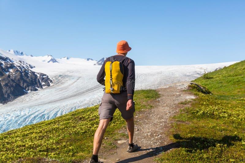 在出口冰川的远足 免版税库存图片