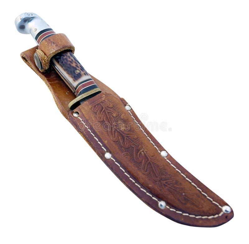 在刀鞘的固定的刀片刀子 免版税库存照片