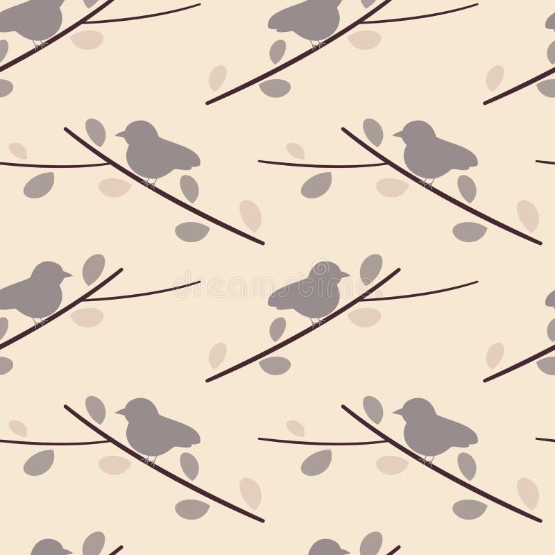 在分支可爱的浪漫无缝的样式背景例证的紫色软的小的鸟 库存例证