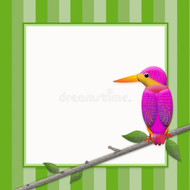 在分支栖息的翠鸟鸟,图表背景 库存例证