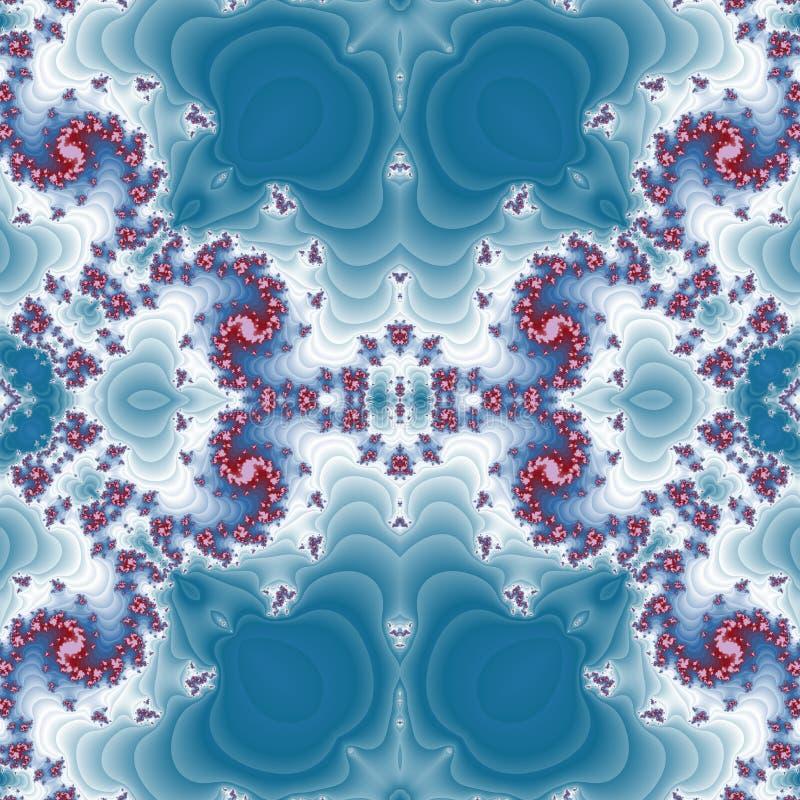 在分数维设计的美好的蓝色,白色,红色无缝的花卉样式 库存例证