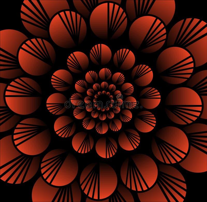 在分数维样式的抽象红色传染媒介花在黑背景,高有3d作用的不同的装饰瓦片 库存例证