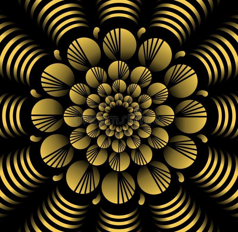 在分数维样式的抽象黄色传染媒介花纹花样在黑背景,高有3d作用的不同的装饰瓦片 向量例证