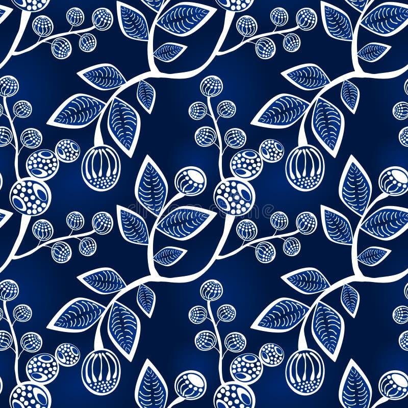 在分行的无缝的蓝色叶子和浆果 库存例证