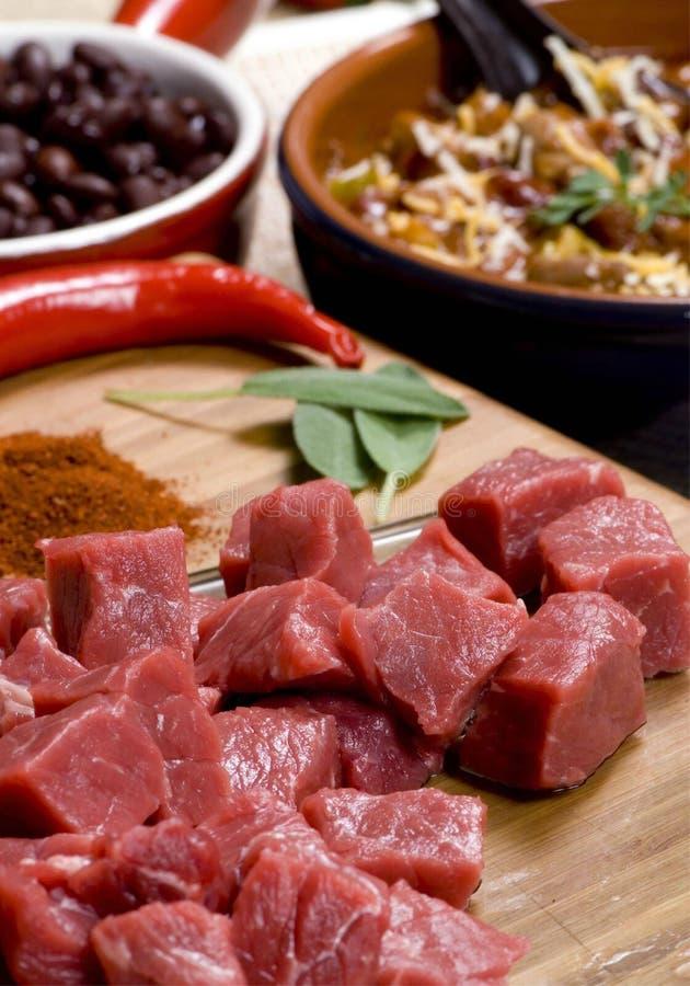 在切板的切细的肉 免版税库存图片