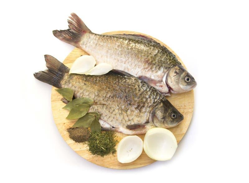在切板的新鲜的鲤鱼 库存图片