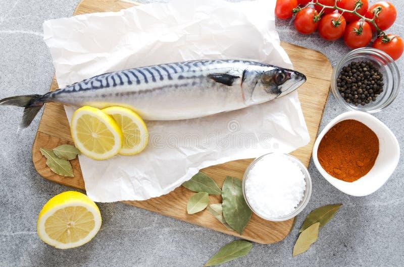 在切板的鲭鱼用不同的草本和菜 烹调晚餐的,顶视图鲜鱼的概念 免版税库存图片