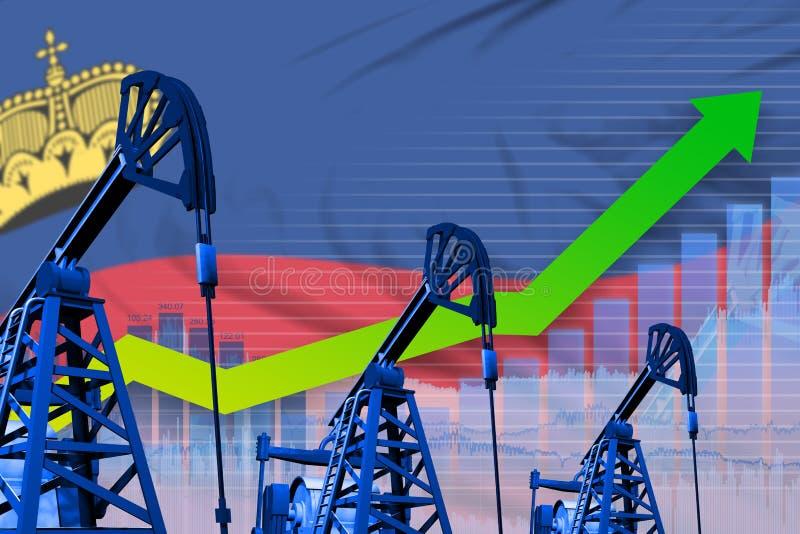 在列支敦士登旗子背景-列支敦士登石油工业或市场概念的工业例证的增长的图表 3d 库存例证