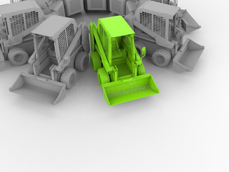 在列阵内的绿色开掘的卡车 向量例证