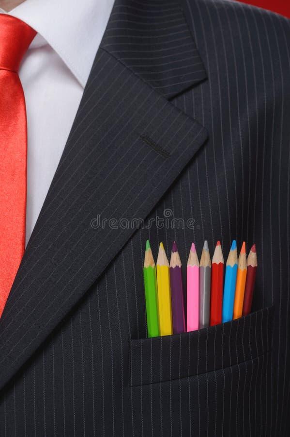 在创造性的特写镜头。在多色的铅笔sticki的特写镜头 免版税库存照片