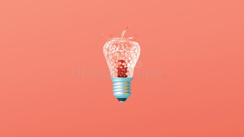 在创造性的离开的珊瑚背景的玻璃织地不很细草莓电灯泡想法 向量例证