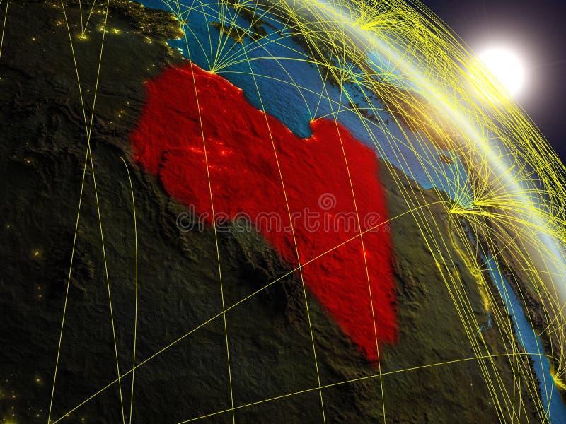 在利比亚附近的网络从空间 向量例证