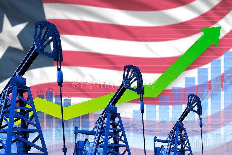 在利比里亚旗子背景-利比里亚石油工业或市场概念的工业例证的增长的图表 3d?? 库存例证