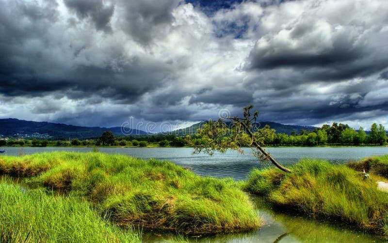 在利马河附近的风景在维亚纳堡 库存图片