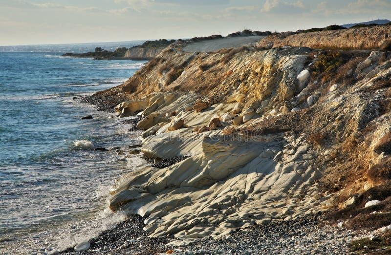 在利马索尔附近的白色石头 塞浦路斯 免版税库存照片