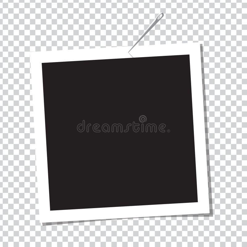 在别针的现实照片框架 库存例证