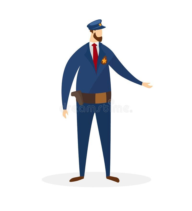 在制服的充分的高度警察字符 库存例证