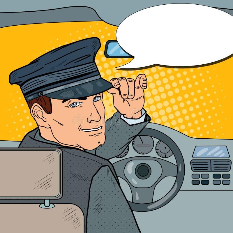 在制服的大型高级轿车司机 汽车夫向致敬的乘客 流行艺术例证 库存例证