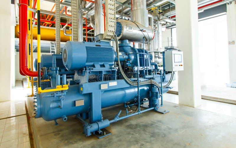 在制造业工厂的工业压缩机冷藏驻地 图库摄影