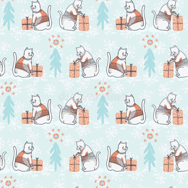 在刺绣毛线衣无缝的传染媒介样式的圣诞节猫 向量例证
