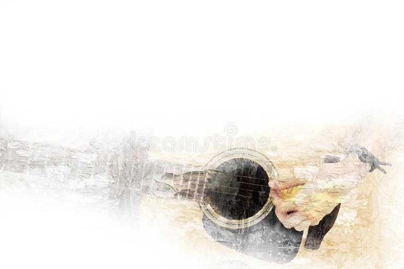 在前景的吉他在水彩绘画对艺术的背景和数字式例证刷子 皇族释放例证