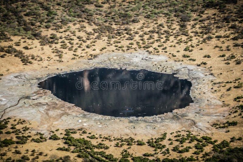 在前火山火山口,埃塞俄比亚,非洲的盐湖El草皮 免版税库存照片