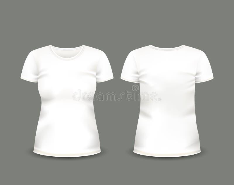 在前面和后面看法的妇女的白色T恤杉短小袖子 边界月桂树离开橡木丝带模板向量 充分地编辑可能的手工制造滤网 向量例证