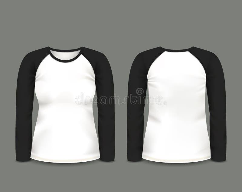 在前面和后面看法的妇女的黑套袖大衣运动衫长的袖子 边界月桂树离开橡木丝带模板向量 充分地编辑可能的手工制造滤网 向量例证