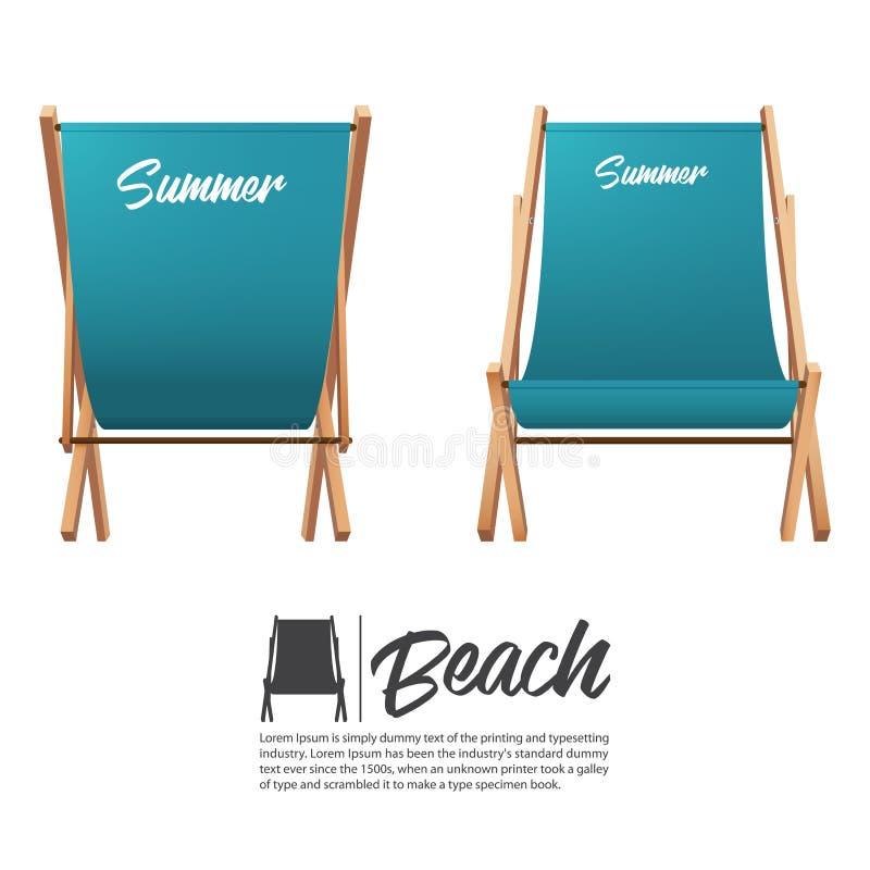 在前面和后面看法的被隔绝的两绿松石夏天海滩睡椅 库存例证