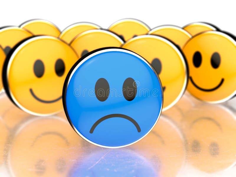 在前面和愉快的黄色面孔的一张蓝色哀伤的面孔后边 向量例证