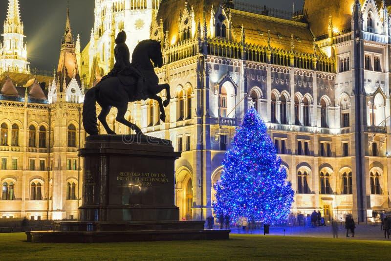 在前面的圣诞树议会大厦 免版税图库摄影