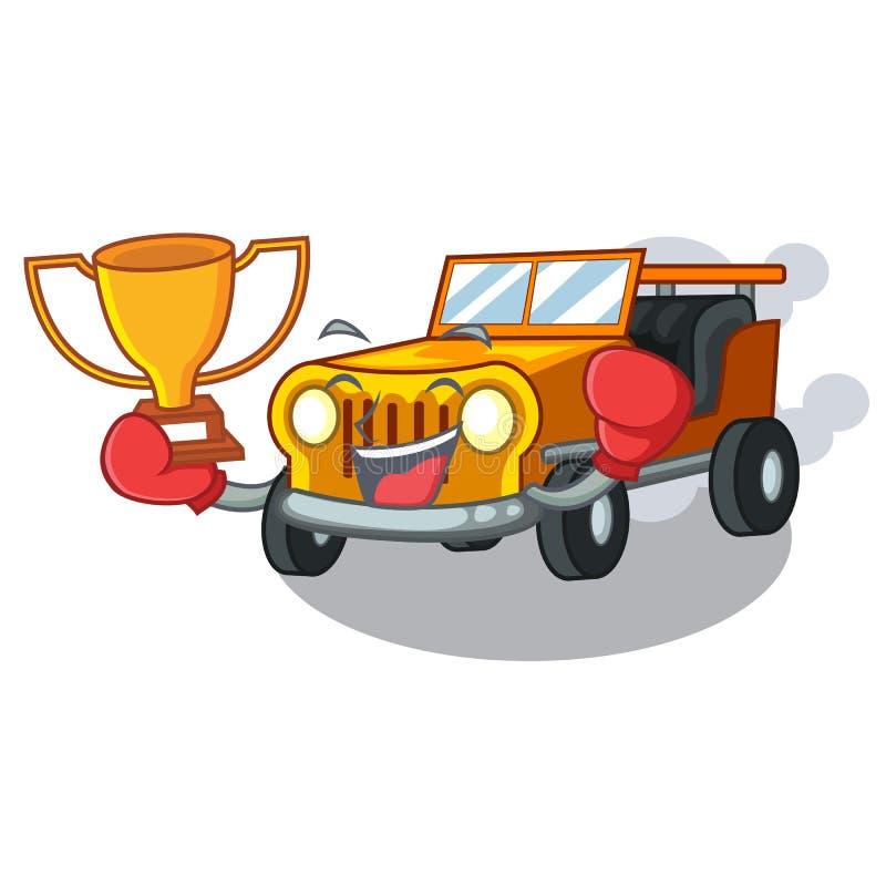 在前面赦免的把装箱的优胜者吉普动画片汽车 皇族释放例证