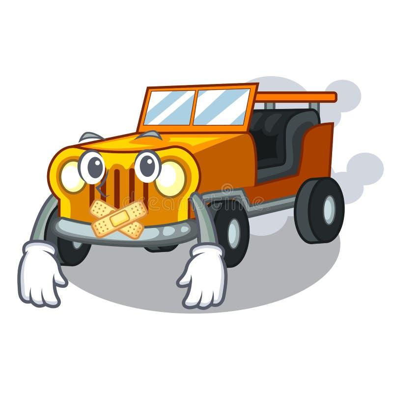 在前面赦免的沈默吉普动画片汽车 向量例证
