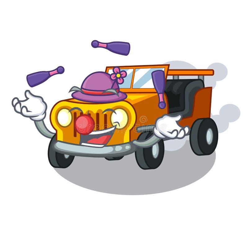 在前面赦免的玩杂耍的吉普动画片汽车 库存例证